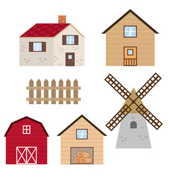 set of farm buildings and constructions set of vector image vector image