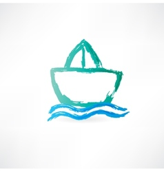 ship on the waves icon vector image vector image