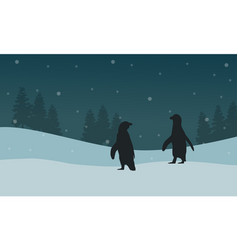 Silhouette penguin and spruce landscape vector