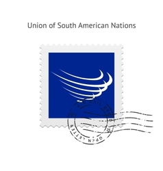 Union of south american nations flag postage stamp vector