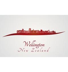 Wellington skyline in red vector