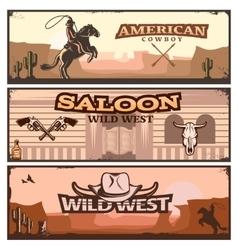 Wild west banner set vector