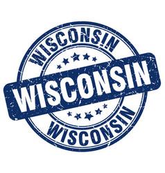 Wisconsin blue grunge round vintage rubber stamp vector