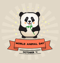 world animal day card with cute panda and vector image vector image