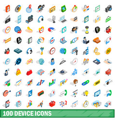 100 device icons set isometric 3d style vector image vector image