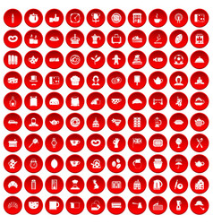 100 tea time food icons set red vector
