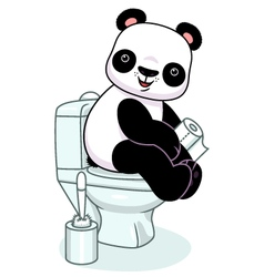 Panda in toilet vector