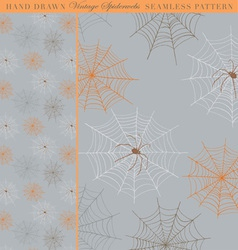 Hand drawn vintage spiderweb seamless pattern vector