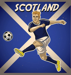 Scotland soccer player with flag background vector