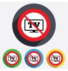 No widescreen tv sign icon television set vector