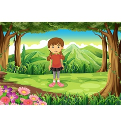 A forest with a tall young girl vector