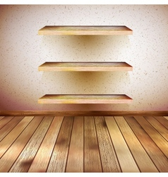 Grunge wooden interior with shelf eps 10 vector