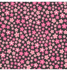 Flat design seamless pattern with pink flowers vector