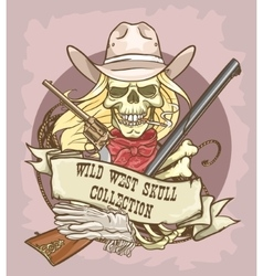 Wild west skull label vector