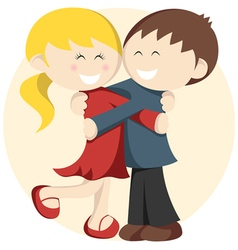 Hugging kids vector