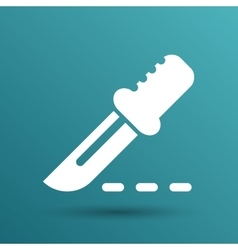 Scalpel knife surgery icon on square button vector