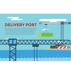 Sea transportation logistic port infographics vector