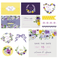 Design Elements - Wedding Flower Pansy Theme vector image