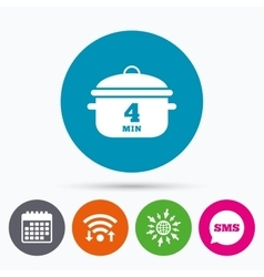 Boil 4 minutes cooking pan sign icon stew food vector