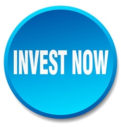 Invest now blue round flat isolated push button vector