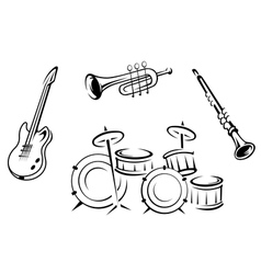 Set of musical instruments in retro style vector image