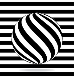Abstract globe from black and white stripes vector
