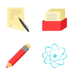 A pen with paper a catalog in a box a red pencil vector