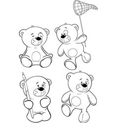 A set of bears coloring book cartoon vector