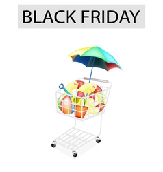 Beach Items in Black Friday Shopping Cart vector image vector image