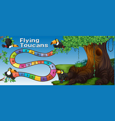 Boardgame template with toucan birds in forest vector
