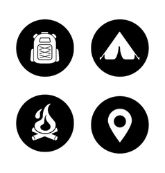 Camping black icons set vector