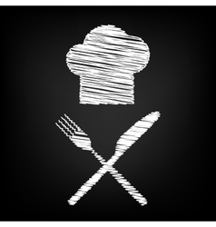 Chef with knife and fork sign vector image