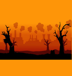 Collection of bad environment with forest on fire vector