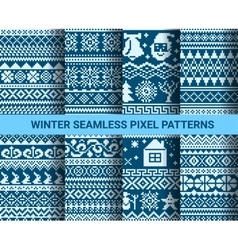 Collection of monochrome seamless pixel patterns vector