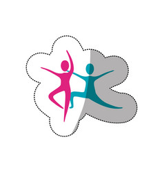 color people practicing dancing icon vector image vector image