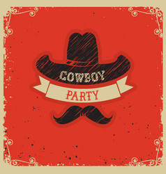 cowboy party red background on red paper vector image