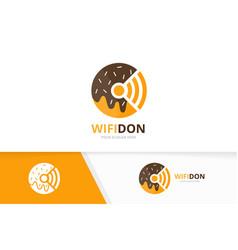 Donut and wifi logo combination doughnut vector