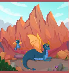dragons family cartoon composition vector image