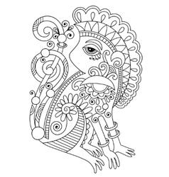 Drawing of ethnic monkey in decorative ukrainian vector