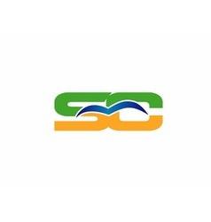 Elegant alphabet s and c letter logo vector