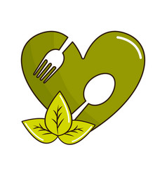 Green heart with spoon and fork inside with leaves vector