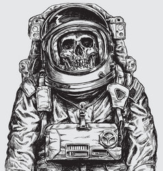 hand drawn astronaut skull vector image vector image