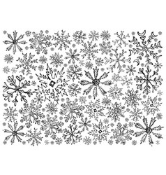 Hand drawn row of various christmas snowflake back vector
