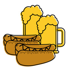 Hot dogs and beers beverage combo food vector