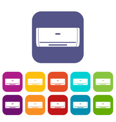 Internal unit air conditioner icons set flat vector