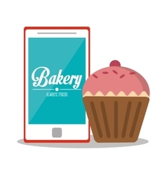 Muffin and smartphone of bakery design vector