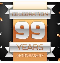 Ninety nine years anniversary celebration golden vector image vector image