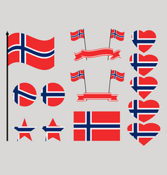 norway flag set collection of symbols heart vector image