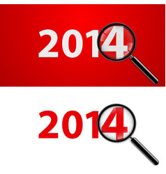 Numerals 2014 with magnifying glass in white and vector