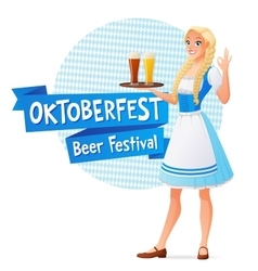 Oktoberfest banner beautiful woman in vector